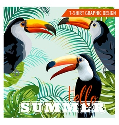 Tropical graphic design toucan and tropical flower vector