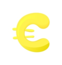 Euro sign icon cartoon style vector