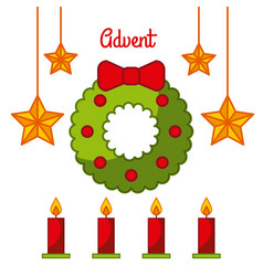 Advent wreath star candles decoration celebration vector