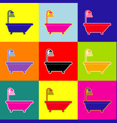 Bathtub sign pop-art style colorful icons vector
