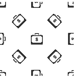 briefcase full of money pattern seamless black vector image