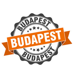 Budapest round ribbon seal vector