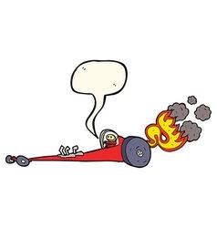 Cartoon drag racer with speech bubble vector