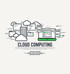 Cloud line computing vector image