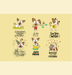 Collection of with cute dogs and vector