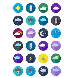 Color round weather forecast icons set vector image vector image