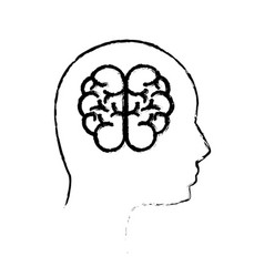 contour mental health person with brain vector image vector image
