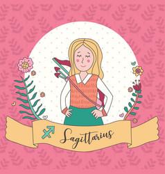 Cute horoscope zodiac girl sagittarius vector
