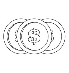 dollar coin icon outline style vector image vector image