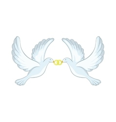 Doves with rings icon cartoon style vector image vector image