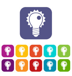 electric bulb icons set flat vector image vector image