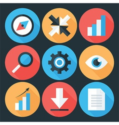 Flat Stylized Business Icons Set over Dark vector image vector image