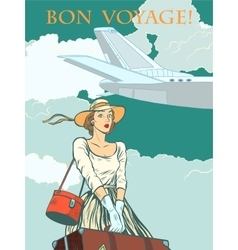 girl passenger plane Bon voyage vector image vector image
