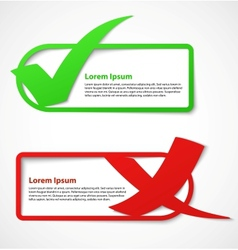 Green and red check mark banners vector