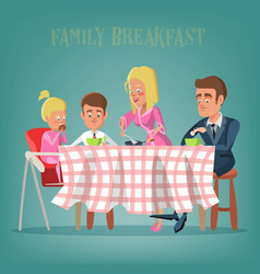 Happy family having breakfast in kitchen vector