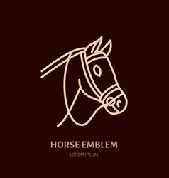 Horse cute pony flat line icon logo for vector