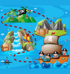 kids on ship and treasure map vector image vector image