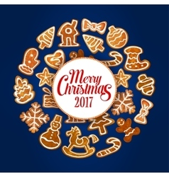 Merry christmas 2017 of gingerbread cookies vector