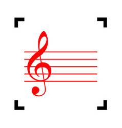 Music violin clef sign g-clef red icon vector