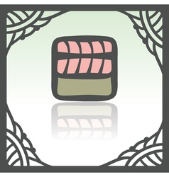 Outline sushi rice roll with raw fish meat salmon vector