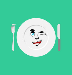 plate winks emoji empty dish isolated cheerful vector image vector image