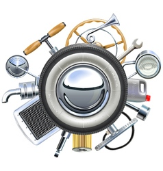 Retro Car Parts Concept vector image vector image