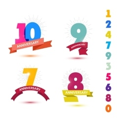 Set of anniversary numbers design 10 9 7 vector