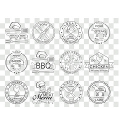set of butcher shop labels vector image vector image