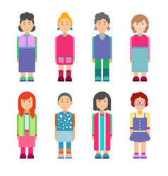 Set of females characters in flat design vector