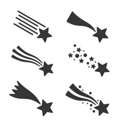 Shooting stars or comet icons set vector
