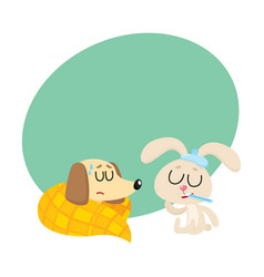Sick baby dog and rabbit having flu fever cold vector