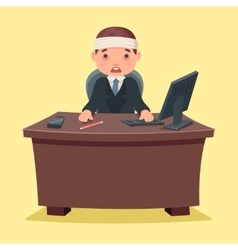 Sick ill businessman character work office desktop vector
