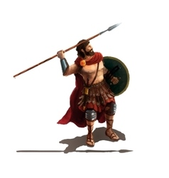 Spartan with spear character on white vector image