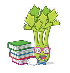 Student with book celery mascot cartoon style vector