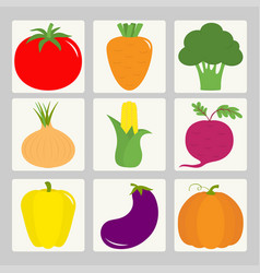 Vegetable icon set tomato pepper carrot vector