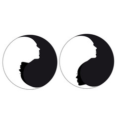 yin yang sign man and woman vector image vector image