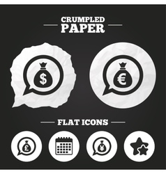 Money bag icons dollar euro pound and yen vector