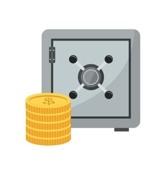 Safe box and coins icon vector