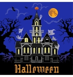 Haunted castle at night vector