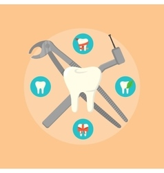 Dental instruments crosswise on color background vector