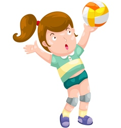 Young girl playing volleyball vector