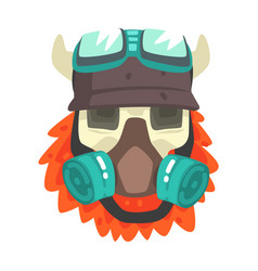 Scull in helmet with gas mask colorful sticker vector