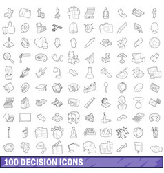 100 decision icons set outline style vector