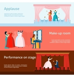 Theater performance flat banners set vector image