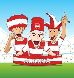 Group of Austria Sport Fans vector image