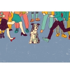 Homeless poor dog on street crowd people vector