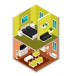 Isometric house in a section vector