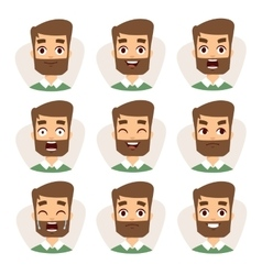 Faces characters mosaic of young beard man vector