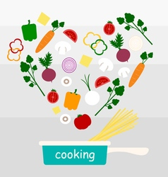 Cooking vegetables with spaghetti vector