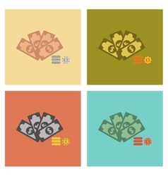 assembly flat icons Money dice chips vector image